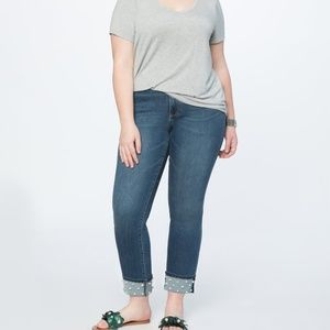 Eloquii Pearl Embellished Cuff Jean